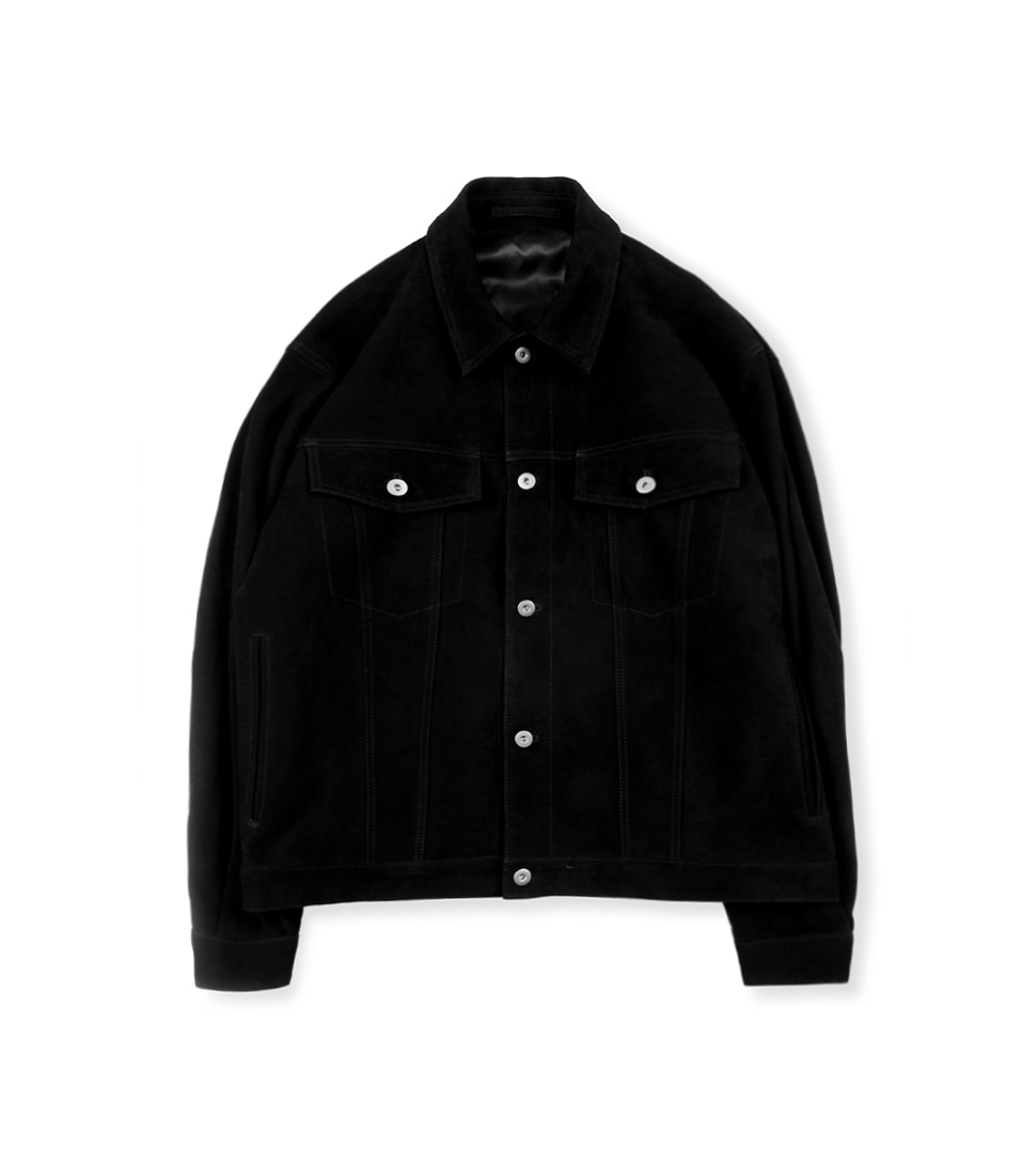 Suede Trucker Jacket - Black