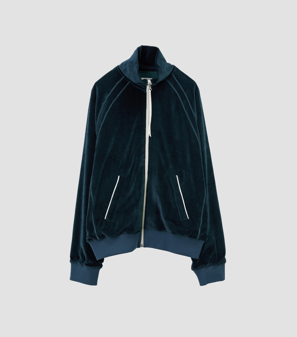 Velour Track Top - Deep Green